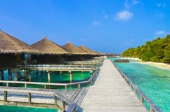 Water bungalows on a tropical island Stock Photo