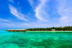 Water bungalows on a tropical island Stock Photography