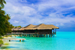 Water bungalows on a tropical island Royalty Free Stock Photography