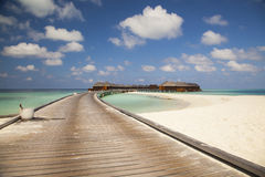Water bungalows at a tropical island Stock Images