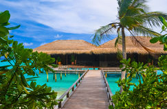 Water bungalows on a tropical island Royalty Free Stock Image