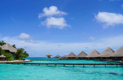 Water bungalows on the tropical island Royalty Free Stock Photos