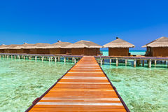 Water bungalows on tropical Maldives island Royalty Free Stock Photography