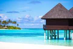 Water bungalows with turquiose water on Maldives Royalty Free Stock Photography