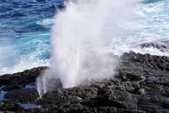 Water bursts through blowhole on Espanola Island, Galapagos National park, Ecuador. Water bursts through blowhole on the coast of Espanola Island, Galapagos stock image