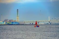 Water bus and Bay Bridge. Shooting location : Yokohama-city kanagawa prefecture royalty free stock photography