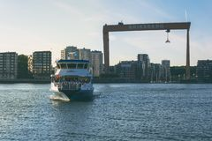 Water bus carrying locals from erikberg terminal in gothenburg sweden stock images