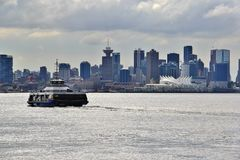 Water bus in Coal Harbour, Downtown Vancouver, British Columbia, Canada Stock Photography