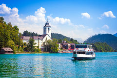 Water bus crossing Wolfgangsee Stock Photos