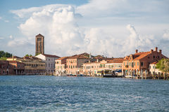 Water Bus Station and Church Tower in Venice Royalty Free Stock Images