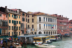 Water bus stop on Grand Canal in Venice in rain Stock Images