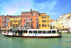Water bus in Venice canal Stock Photo