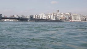 Water buses carrying tourist along Bosphorus, Istanbul attractions, time lapse. Stock footage stock video