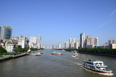 The water buses sailing on Pearl River (Zhujiang River) in Guangzhou Royalty Free Stock Photos