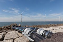 Water cables connected to the Windturbines in the IJsselmeer Royalty Free Stock Image