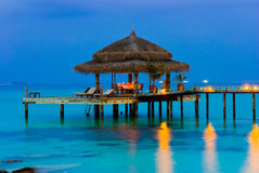 Water cafe at evening Royalty Free Stock Photo