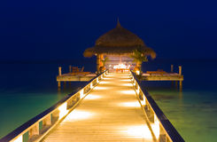Water cafe at night stock photography