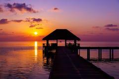 Water cafe at sunset - Maldives Royalty Free Stock Photo