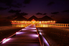 Water cafe at sunset - Maldives Royalty Free Stock Photography