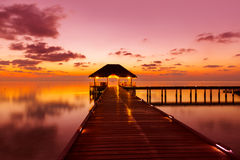 Water cafe at sunset - Maldives Stock Image