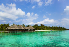 Water cafe on a tropical beach at Maldives Stock Images