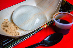Water cake, Japanese style dessert with decoration, Raindrop Miz. Water cake the water drop dessert mochi `mizu shingen mochi` or `Yamanashi Mochi `, Japanese Stock Image