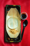 Water cake, Japanese style dessert with decoration, Raindrop Miz. Water cake the water drop dessert mochi `mizu shingen mochi` or `Yamanashi Mochi `, Japanese Royalty Free Stock Photography