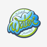 Water Calligraphic Label. Mineral water handwritten calligraphic label Royalty Free Stock Images