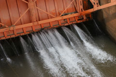 Water came out of the dam. When the gate was closed stock image