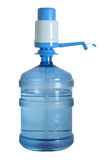Water can with pump cutout. Blue home/office water bottle with vacuum pump ontop. You may place any text or logo on it. Clipping path included Stock Photo