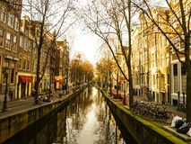 Water canal in Amsterdam city centre stock photography