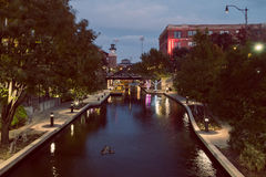 Water canal in city Stock Images