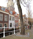 Water canal in city Delft, Netherlands Stock Images