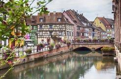 Water canal in Colmar, France. Panorama in Colmar in Petit Venice , Strasbourg region, France Stock Image