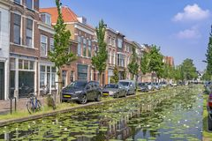 Delft water canal Royalty Free Stock Photos
