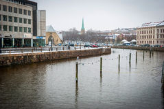 Water canal in Gothenburg downtown, Sweden Royalty Free Stock Photo