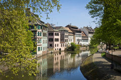Water canal on Grand Ile island in center of Strasbourg Royalty Free Stock Photography