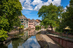 Water canal on Grand Ile island in center of Strasbourg Royalty Free Stock Photo