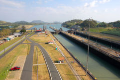 Water canal and lock. High angle view of water lock channel on canal or river; roads on riverside stock photography
