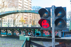 Water canal lock signal Stock Image