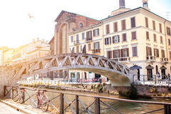 Water canal in Milan Stock Photo