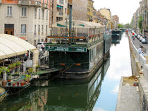 Water canal in Milano with a boat restaurant 439, Italia, 2012 Royalty Free Stock Photos