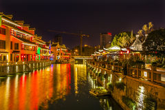 Water Canal Near Nanchang Temple Wuxi Jiangsu China Night Royalty Free Stock Photography