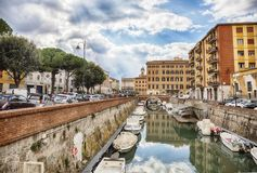 Water canal near Old Fortress, Livorno , Italy Stock Photography