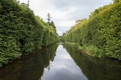 Water canal at the Oliwa Park. View of a water canal and lush hedge at the Oliwa Park Park Oliwski. It`s a public park in Gdansk, Poland Royalty Free Stock Image