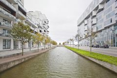 Water canal in the Orestad area, Copenhagen Royalty Free Stock Photos