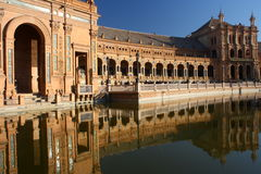 Water canal at Plaza de Espana in Seville Stock Photos