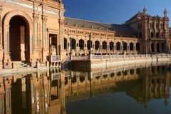 Water canal at Plaza de Espana in Seville Stock Photos