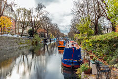 Water Canal and reflections in Little Venice in London   Stock Image
