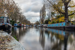 Water Canal and reflections in Little Venice in London. In Autumn stock photography